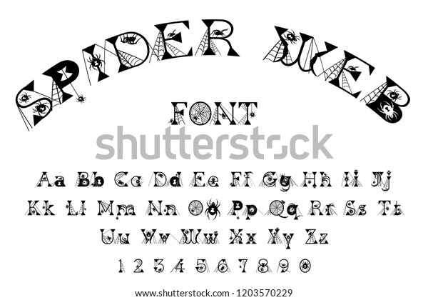 Spider Web Scary Halloween Font Stock Illustration 1203570229