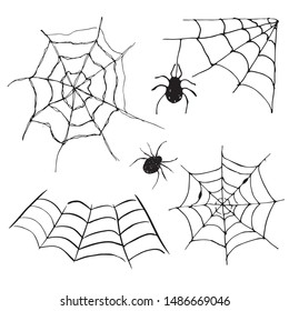 Spider web set Hand drawn sketched web illustration isolated on white background.