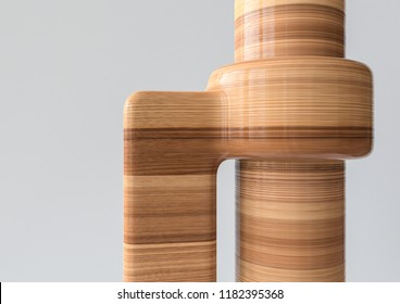 Spigot Joint - Joint types of bones in wood look - 3D Rendering