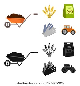 Spikelets of wheat, a packet of seeds, a tractor, gloves.Farm set collection icons in cartoon,black style bitmap symbol stock illustration web.