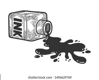 Spilled bottle ink blot sketch engraving raster illustration. Tee shirt apparel print design. Scratch board style imitation. Black and white hand drawn image.