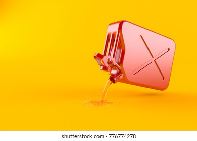 Spilled gasoline with canister isolated on orange background. 3d illustration