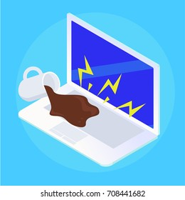 Spilled puddle coffee on laptop. Repair of broken equipment.  flat isometric illustration