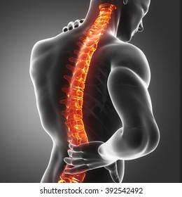 Rückenverletzung Schmerzen in der Sakralregion und im Gebärmutterbereich