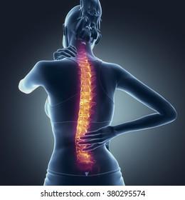 Spine pain - hurt backbone concept