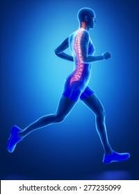 SPINE - running man leg scan in blue