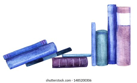 Spine viewed books in blue and purple shades standing in row. Watercolor abstract image of books leaning against each other and isolated on white background. Hand drawn illustration on textured paper