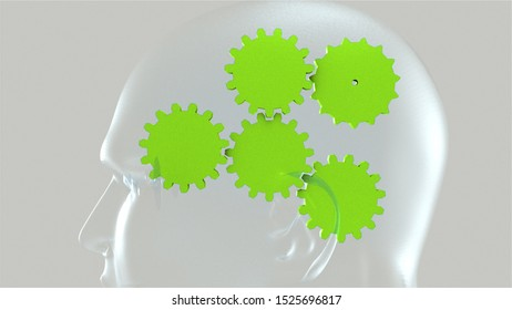 Spinning gears inside a human head. 3d rendering of the thought process. Computer created background