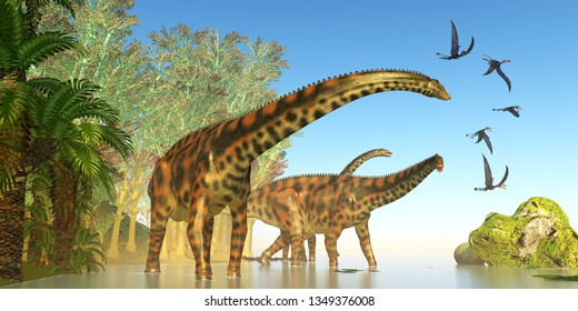 Spinophorosaurus Dinosaur Marsh 3D illustration - Dorygnathus reptile birds fly close to a Spinophorosaurus dinosaur herd during the Jurassic Period.
