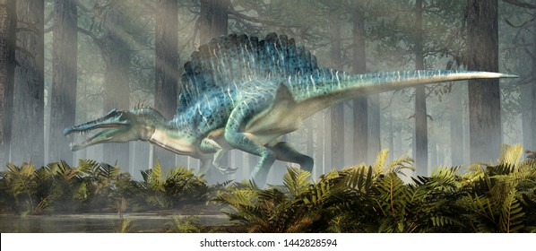 A spinosaurus in a forest.  Spinosaurus was semi-aquatic dinosaur from the Cretaceous period.  It was one of the largest carnivorous dinos ever.  3D Rendering