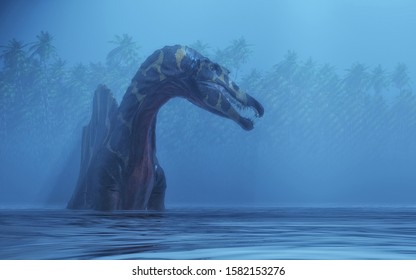 Spinosaurus in the lake . This is a 3d render illustration.