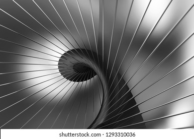 Spiral Abstract Black Reflective Background. 3D Rendering