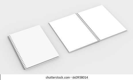 Spiral binder notebook mock up isolated on soft gray background. 3D illustrating