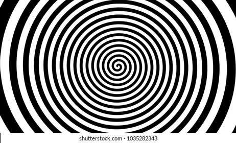 Spiral black and white background. Hypnosis, illusion effect.