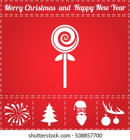 Spiral candy. Flat symbol and bonus icons for New Year - Santa Claus, Christmas Tree, Firework, Balls on deer antlers