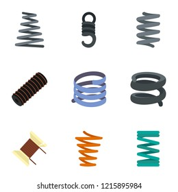 Spiral coil cable icon set. Flat set of 9 spiral coil cable icons for web design