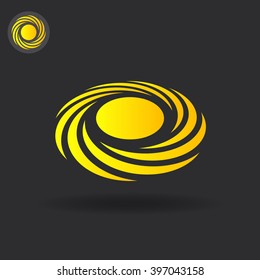 Spiral cyclone concept icon on dark background, 2d and 3d illustration, isolated on dark background