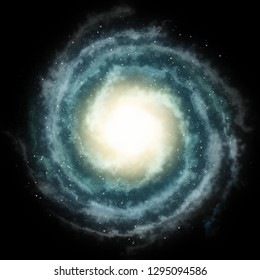 Spiral galaxy or nebula in the space with glowing center and blue clouds. Circular universe