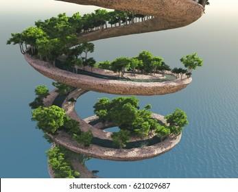 Spiral garden, 3d illustration