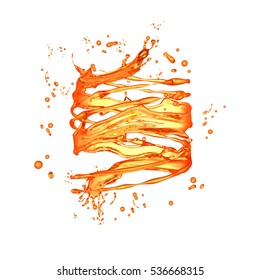 Spiral isolated bursts of orange juice on a white background. 3d illustration, 3d rendering.