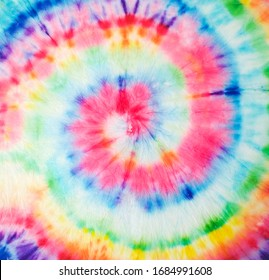Spiral Pattern. Trendy Fashion Dirty Paint. Tie Dye Striped Pattern. Rainbow Artistic Circle. Tiedye Swirl. Vibrant Spiral Texture. Magic Fantasy Dirty Painting. Artistic Fabric.