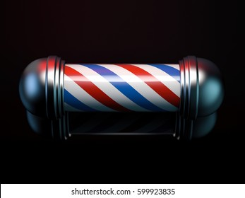 Spiral red and blue barber pole in black studio. 3d rendering