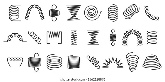 Spiral spring. Flexible coils, wire springs and metal coil spirals silhouette. Vape metallic flexible coils, flexibility steel motor spiral doodle. Isolated  icons set