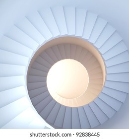 Spiral stair. 3d render of abstract interior