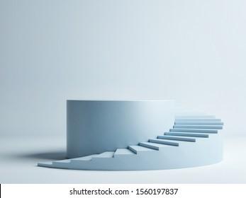 Spiral stair with pedestal, winner podium on blue background, 3d render, 3d illustration