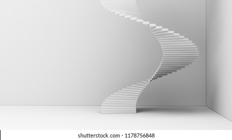 Spiral staircase isolated on white background in minimal architecture graphic design concept. 3d abstract illustration.
