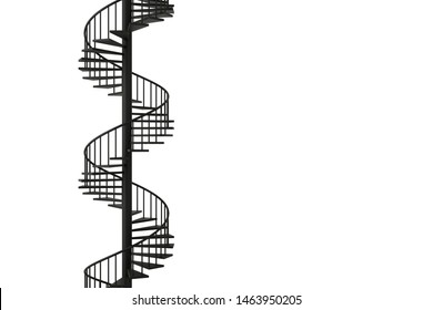 Spiral staircase with minimal concepts, 3D rendering.
