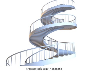 spiral staircase stairway stairs steps isolated