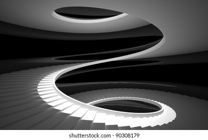 spiral staircase in a white glossy black walls