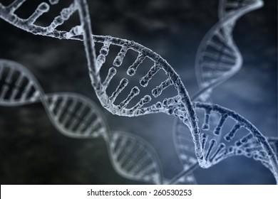 Spiral strand of DNA on the dark background