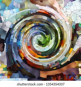 Spiral Twirl series. Artistic abstraction composed of Stained glass swirl pattern of color fragments on the subject of colorful design, creativity, art and imagination