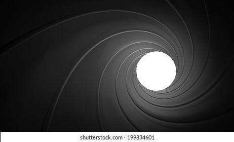 Spiraled interior of a gun barrel rendered in 3D