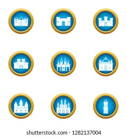 Spire icons set. Flat set of 9 spire icons for web isolated on white background