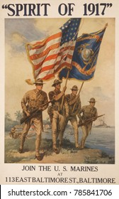 SPIRIT OF 1917. Marines on a beach, carrying rifles and flags. American World War 1 recruiting poster by Howard Chandler Christy, 1917