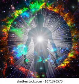 Spirit emerges from fire circle in vivid space. 3D rendering