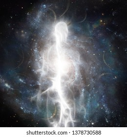 Spirit emerges from space. Soul or Aura. 3D rendering