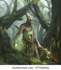 Spirit of the forest. Wood goblin. Skogen. Scandinavian mythology - a new look
