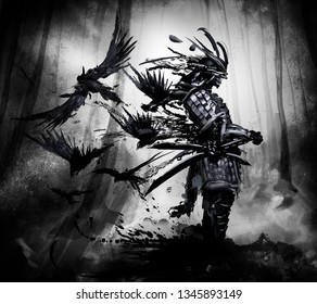 The spirit of the samurai stands in the gray forest, a flock of crows flies out of his back