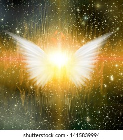 Spiritual abstract. Shining angel wings. 3D rendering