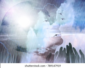 Spiritual composition. Birds flies above ocean shore. Woman's head silhouette and praying hands. 3D rendering