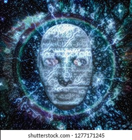Spiritual composition. Face of ghost or spirit. 3D rendering