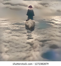 Spiritual composition. Soul Journey. Figure of man in cloak sailing in the sky. 3D rendering