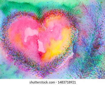 spiritual heart mind power mental floral watercolor painting illustration design