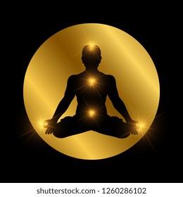 Spiritual indian chakra symbol. Meditation man silhouette with shiny elements