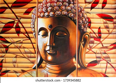 Spiritual Lord buddha meditating texture background artwork canvas oil painting. Creative Artistic 3D wallpaper
