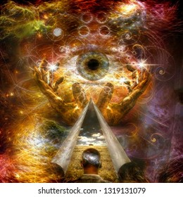 Spiritual painting. Hands of Creator and All seeing eye. Revelation of world. 3D rendering